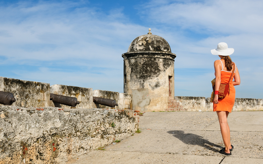 Tourist on town`s defensive walls in Cartagena