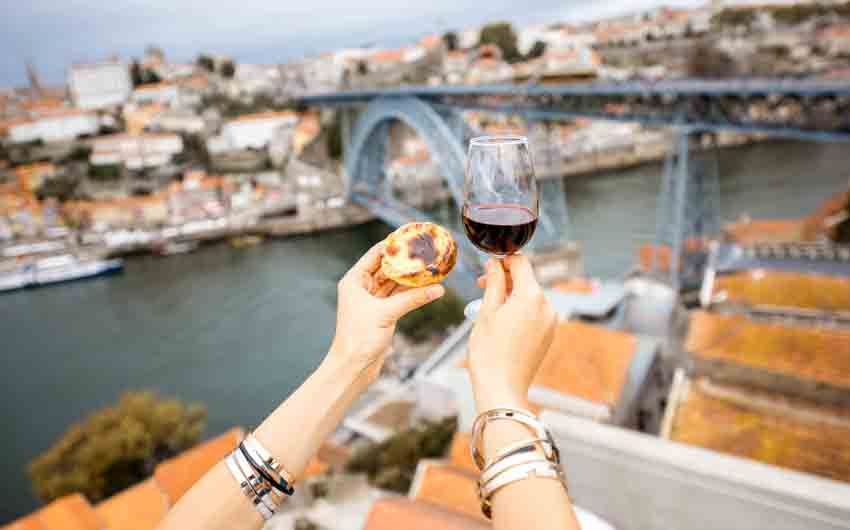 Porto wine and dessert with a view