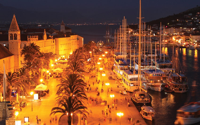 View on Illuminated Trogir in the Night, Croatia