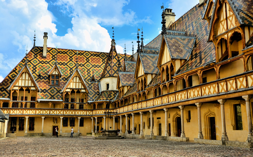 Iconic courtyard of Hotel Dieu, Beaune