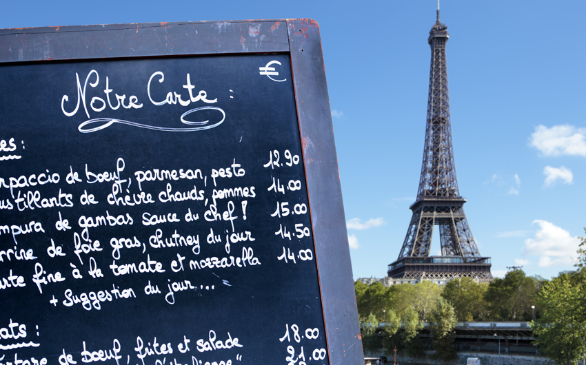 French restaurant menu with of the Eiffel Tower