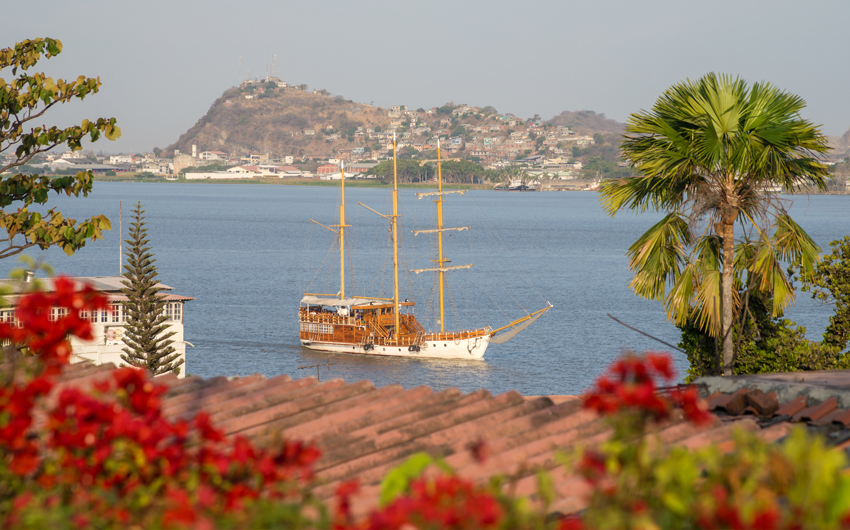 Sailboat approaching a shore on a sunny afternoon, Guayaquil