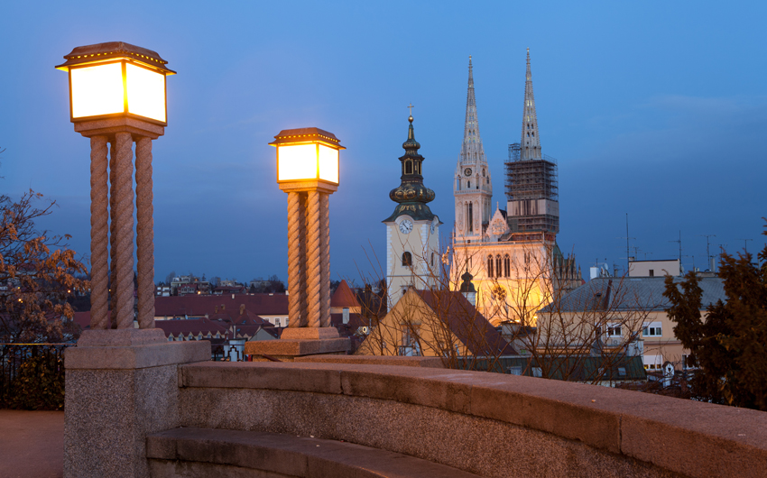 St Mary's Church and the rooftops of Dolac Market in Zagreb