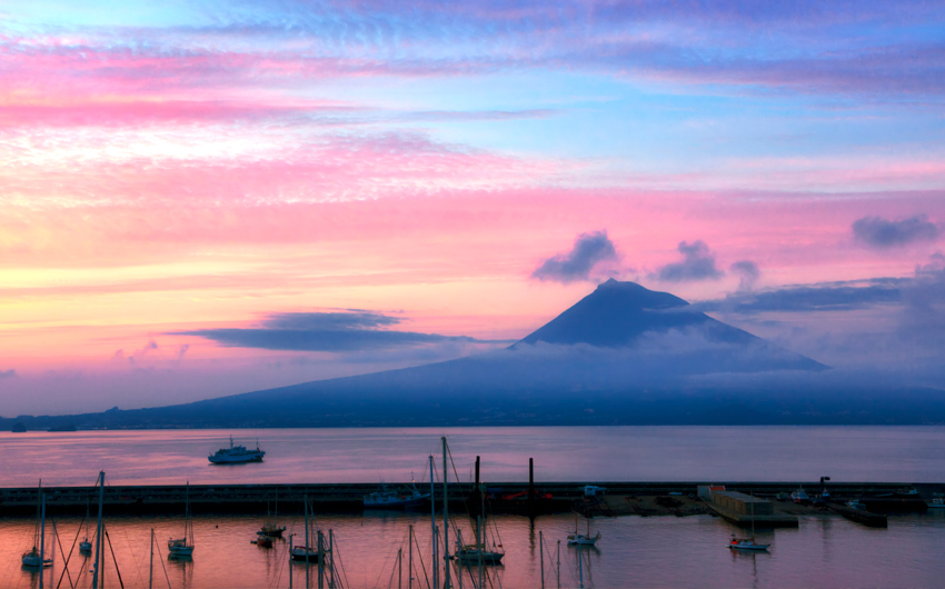 View of Mount Pico from the island of Faial at sunrise