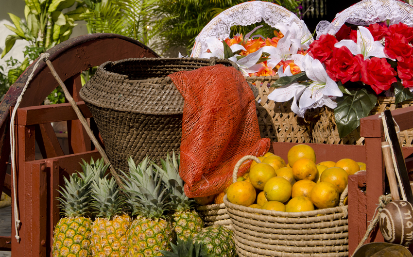 Traditional cart filled with fruits at Mi Pueblito tourist center, Panama city