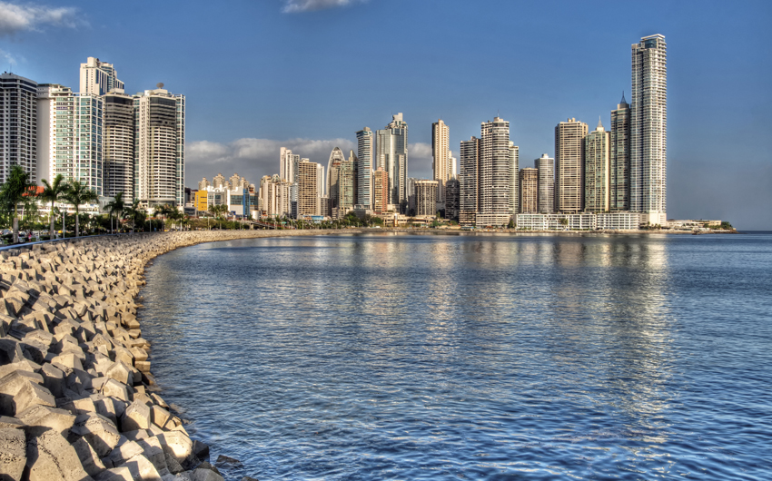 Panama City skyline and the Panama Bay