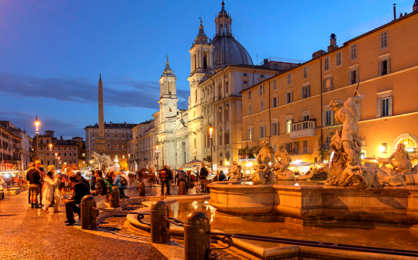 Evening in Piazza Navona, Rome