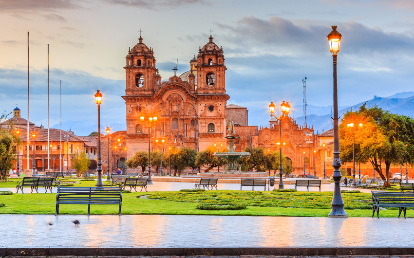 Cusco, Peru the historic capital of the Inca Empire. Plaza de Armas at twilight.