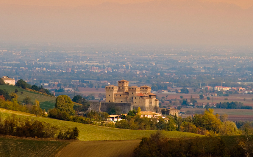 Torrechiara castle and countryside landscape, Parma