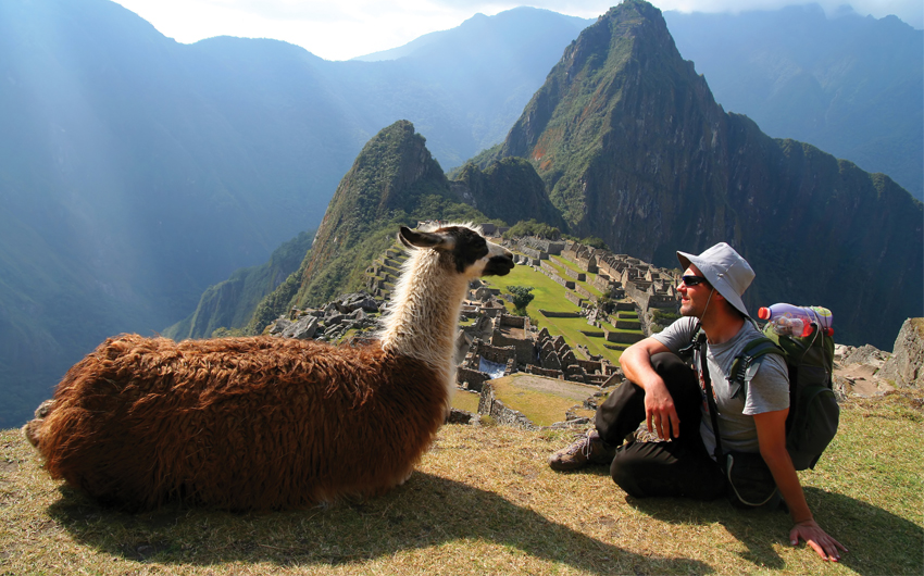 Sitting in front of Machu Picchu