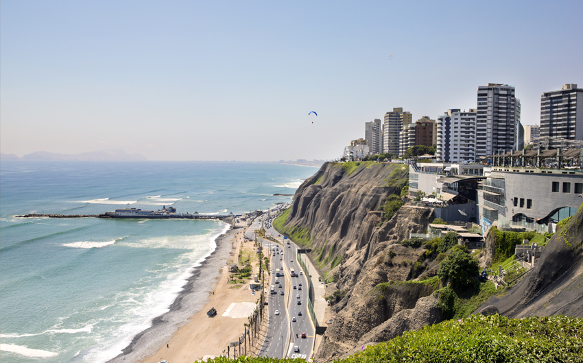 Miraflores coast in Lima
