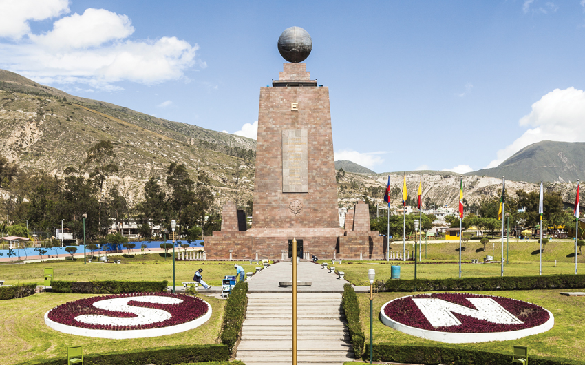 Middle of the World Monument, one of the most visited by tourists from worldwide locations, Quito, Ecuador