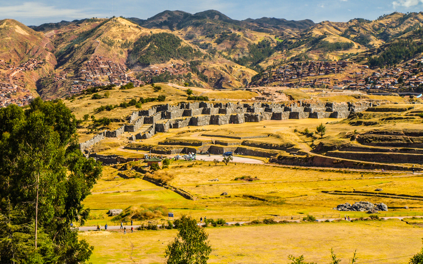 Fortification walls of Sacsayhuaman citadel near historic capital of the Inca Empire Cusco
