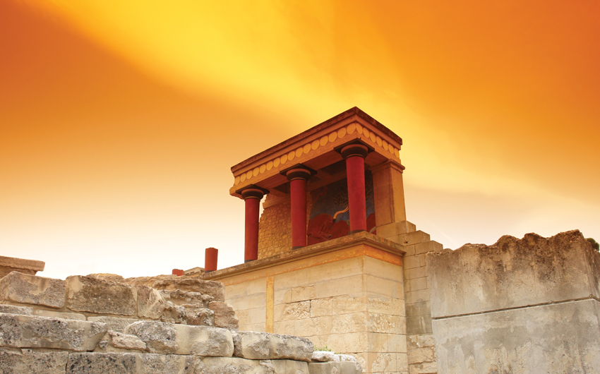 Minoan palace at Knossos place in Crete island