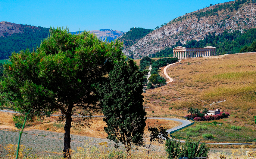 The ancient ruins of a greek temple at Segesta