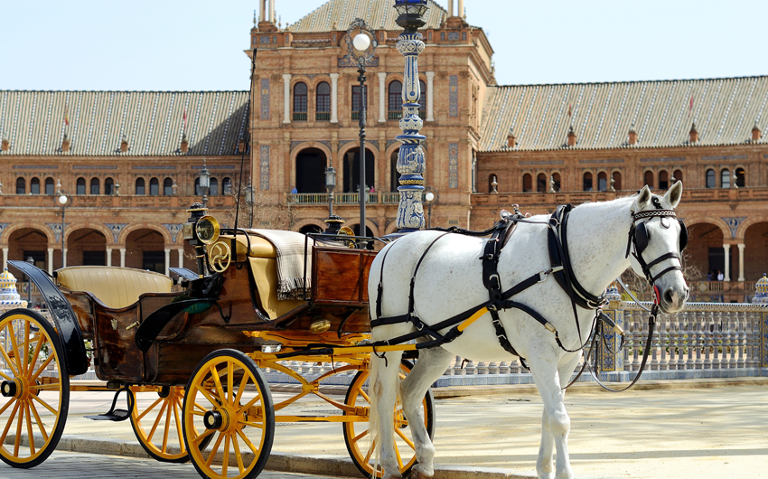 Horse carriage in Plaza de Espana in Seville