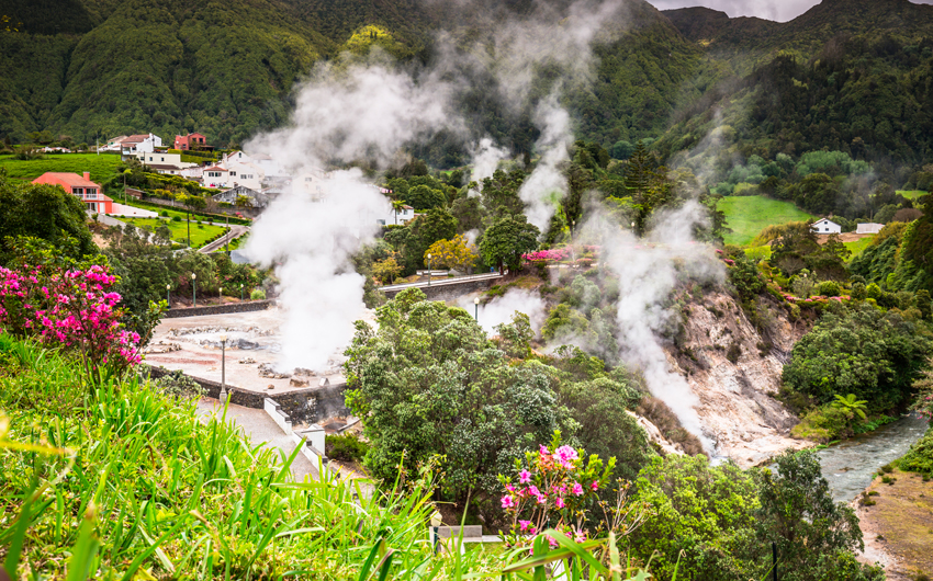 Hot spring waters in Furnas, Sao Miguel