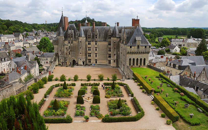 Castle and garden in Langeais, Loire Valley
