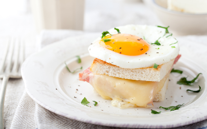 Croque madame, egg, ham, cheese sandwich, traditional French cuisine