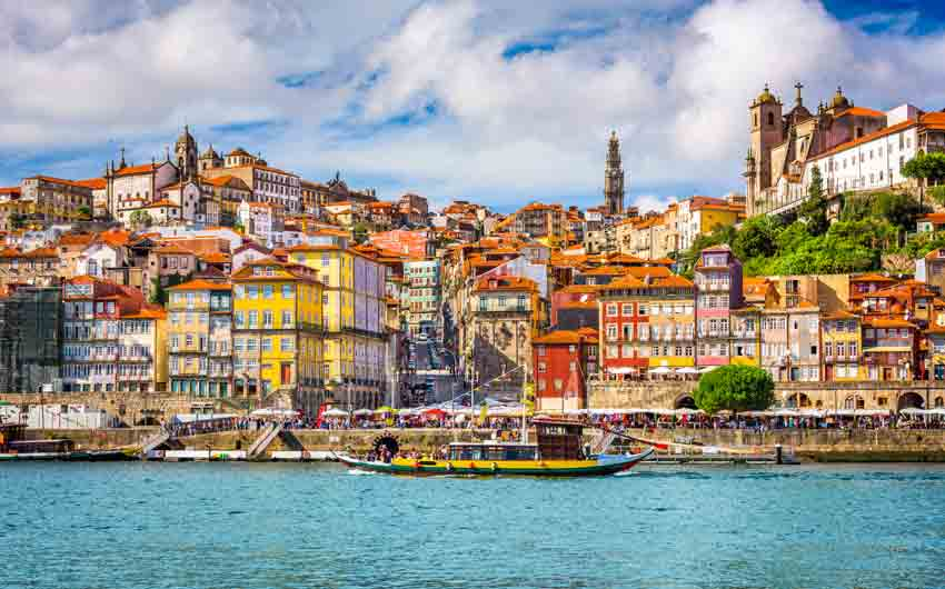 Porto, Portugal old town cityscape on the Douro River