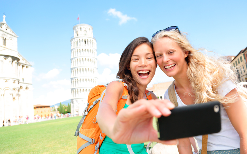 Taking a photo in Pisa