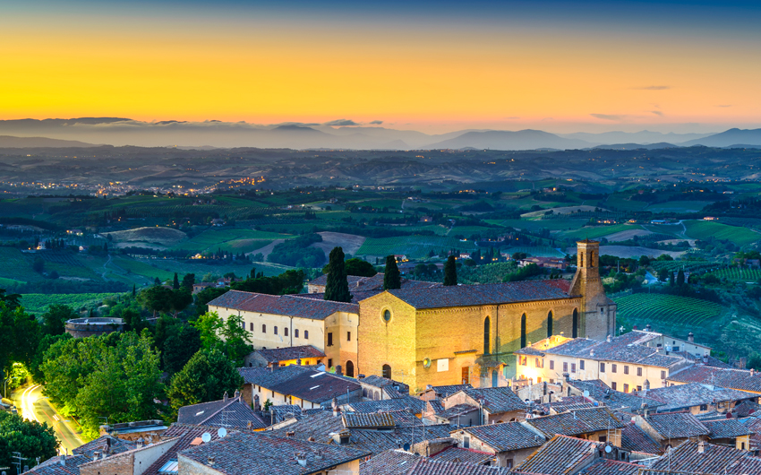 San Gimignano night aerial view,