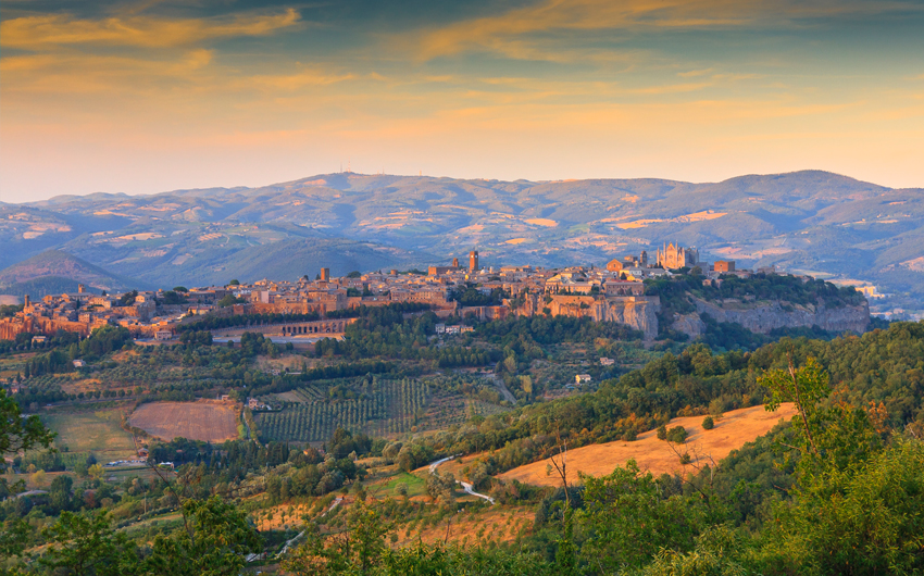 Landscape view of the medieval town of Orvieto