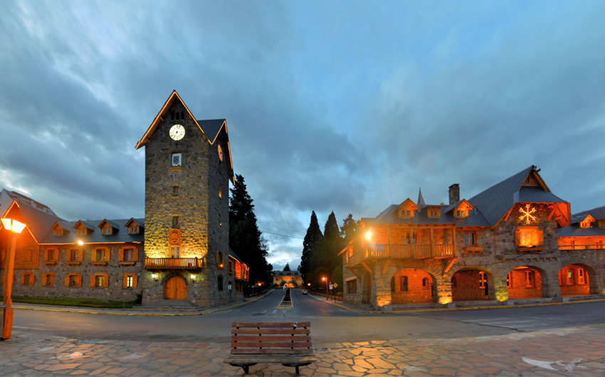 Swiss style main Square in Bariloche, Patagonia