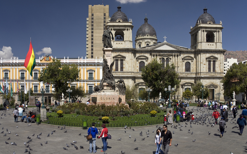 Plaza Murillo with Presidential Palace & Cathedral in La Paz