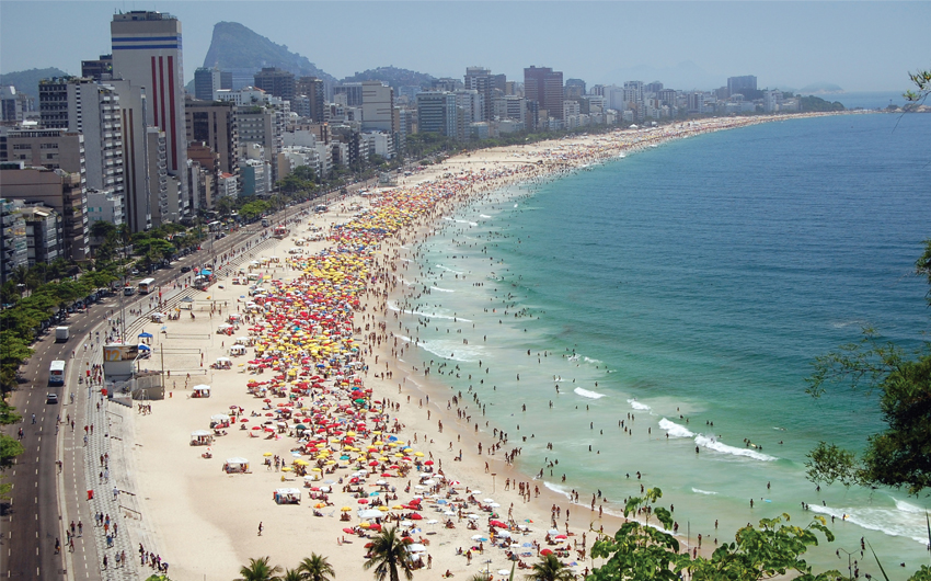A view of Ipanema and Leblon beach, one of the most beautiful beach of Rio de Janeiro