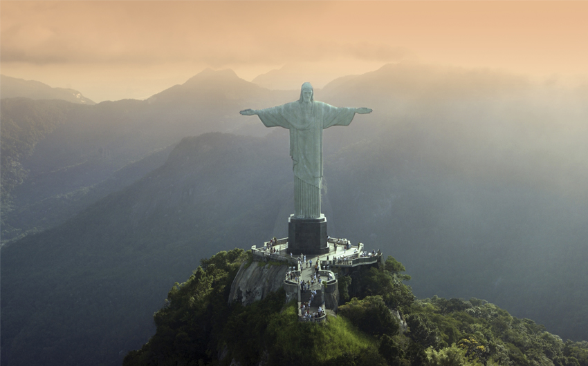 The statue of Christ the Redeemer at Corcovado in Rio De Janeiro