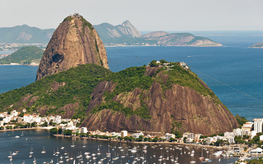 Rio de Janeiro's most famous landmark. Cable car, atlantic forest and Guanabara Bay
