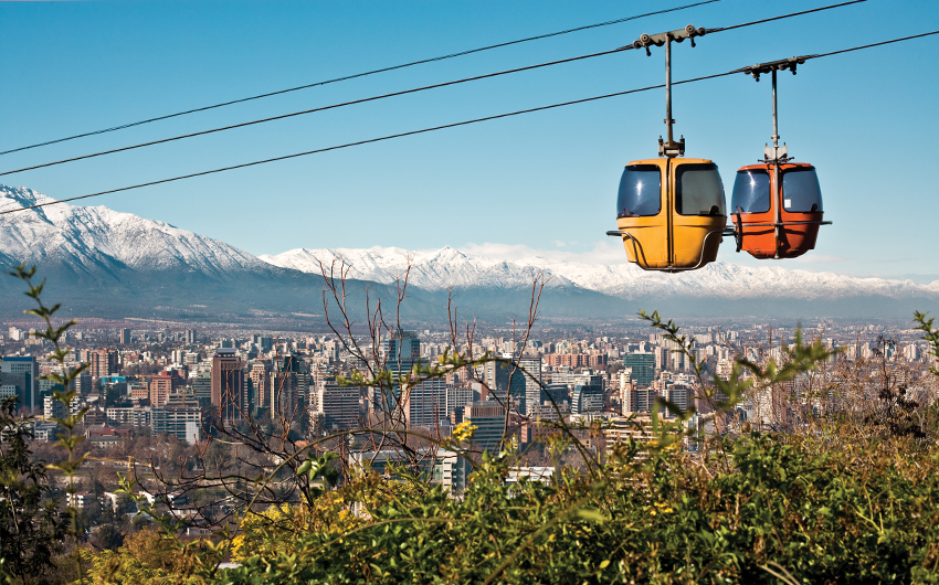 Cable car in San Cristobal hill, overlooking a panoramic view of Santiago