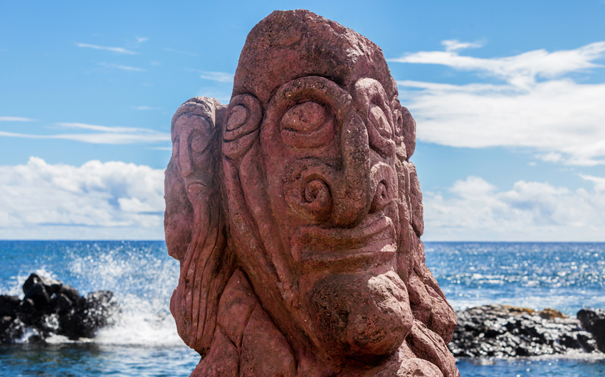 Red carving on a moai in Easter Island