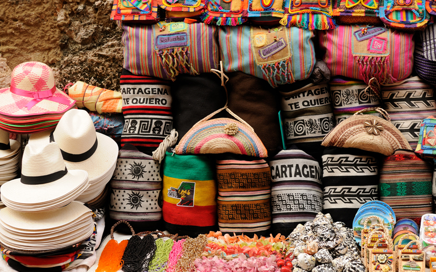 Street stall with hand-made souvenirs from Cartagena