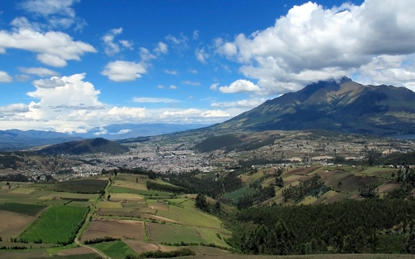 Town and fields in Otavalo