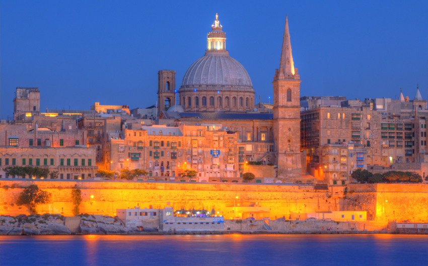 View of Valletta with Our Lady of Mount Carmel church dome