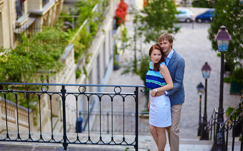 Couple at viewpoint on Montmartre in Paris