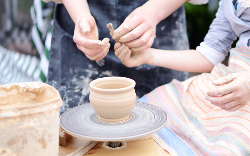 Pottery class at a local artisan's workshop