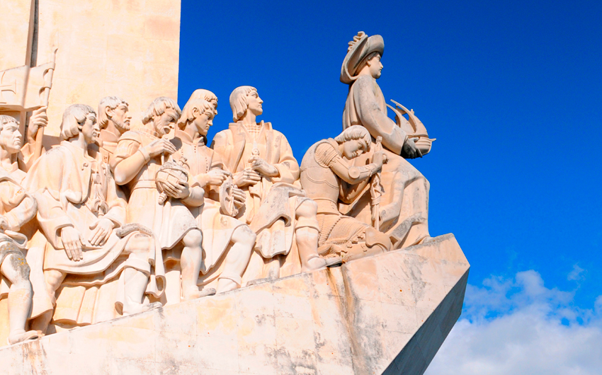 Monument to the Discoveries in Lisbon on Tagus river