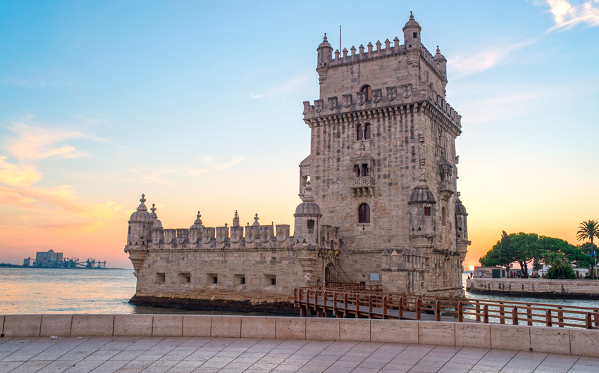 View of the belem tower at sunset